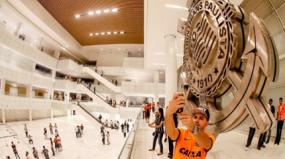 Escudos do timão viram atração na Arena Corinthians